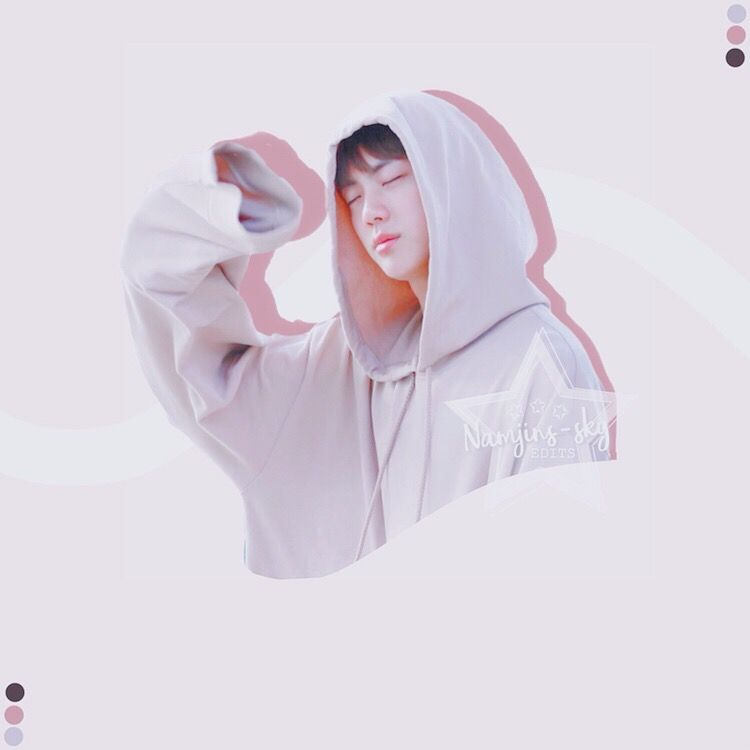 @hobisangelic here! Covering for Liz today (';  -i hope you like this, bc due to the fact that i suCk, i had to make it with my style (':  [Tags] #jin #seokjin #kim #kimseokjin #kimjin #bts #kpop #shadow #pink #soft #hoodie #jacket #palette #white #pastel #worldwidehandsome #music