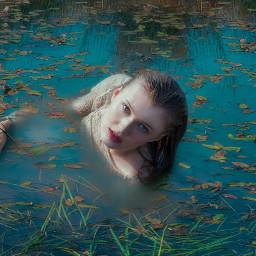 girl model water summer pond