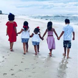 freetoedit remix remixit colorful photography beach walking childhood kids cousin pcbarefoot