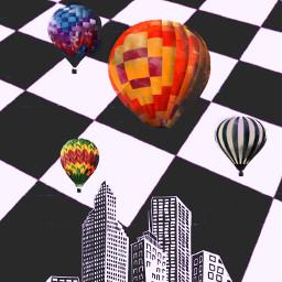 freetoedit airballoon chessboard cityscape interesting