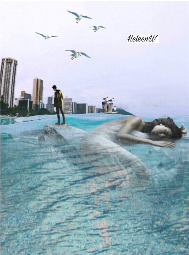 #endlesssummer  Lady sleeps in the sea #lady #sea #surreal #sticker #birds #madebyme #colored #doubleexposure #blending #myedit #myart #mystyle #freetoedit