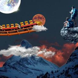 freetoedit ircamusementpark rollercoaster moon mountain