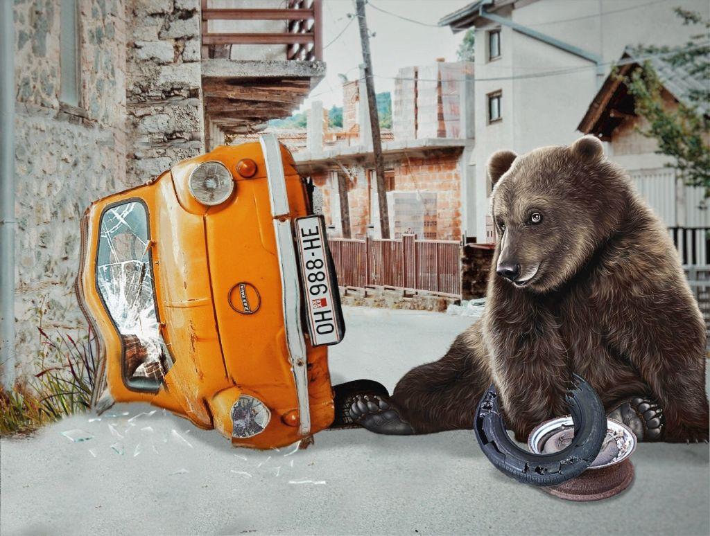 #freetoedit #bear #car #tire #rim #wheel #brokenglass  #ftestickers #clonetool #distortioneffect #picsart #remixed #remixme #remixit