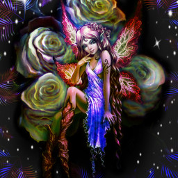 freetoedit fantasyart fairy roses featherborder