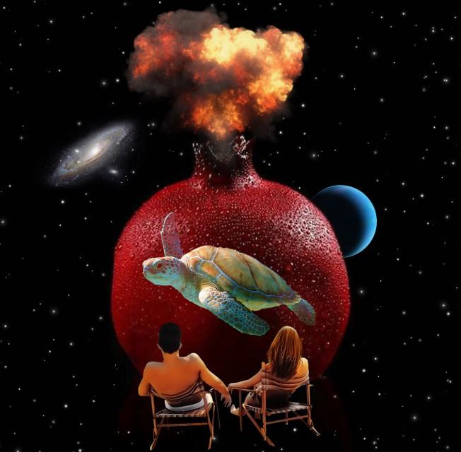 #freetoedit #space #galaxy #planet #beach #volcano #stars #turtle #pomegranate