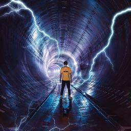 lightning light tunel timetravel purple freetoedit