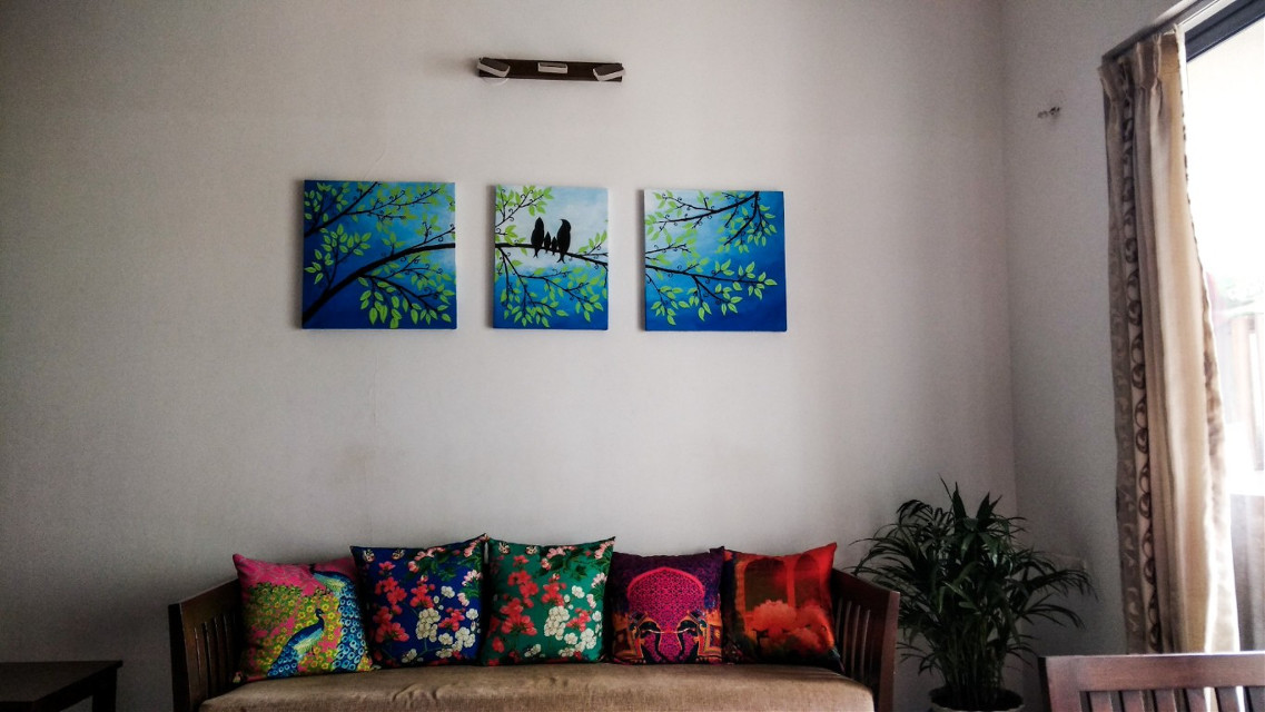 Home 💕.. #colorful #interiors #painting #home#amazing #birds#trees#light#covers #welcoming  #pcinteriordesign #pccozycorner #cozycorner These captures can't be used by any other user for any means without permissions as these have been taken under my own watermark and usage of them for any other purpose is not permitted...thanks 😊.. please respect the originality of them