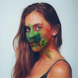 freetoedit colorpowder powderexplosion facepaint girl