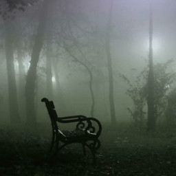 fog night bench lonely creepy freetoedit