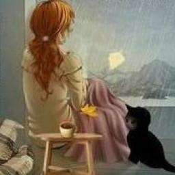waiting rain catcompany lonely girly freetoedit