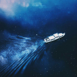 ocean stars galaxy boat freetoedit