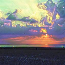 freetoedit sunset beach colourbrightmagiceffect myphoto