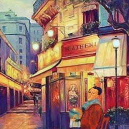 freetoedit vintageart frenchcafe cafe street ircfineartfridayam
