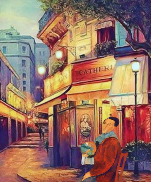 #freetoedit #vintageart #frenchcafe #cafe #street #art #photoedit #parislife