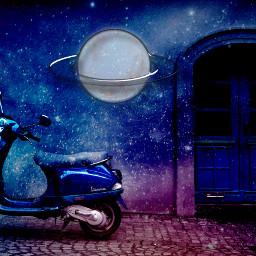 freetoedit galaxy scooter nature beautiful