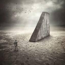 man walking upstairs dry desert freetoedit