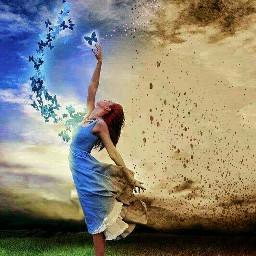 freetoedit girl butterfly sky blue