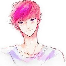 freetoedit animeboy boyanime pinkhair animeboypink animeboyfreetoedit