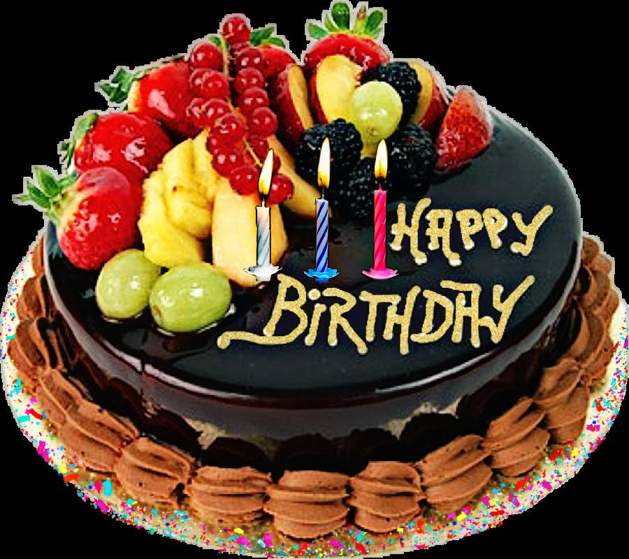 Happy Birthday Cake Candles Fruit