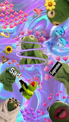 Freetoedit Kermit Frog Hearts Dab Cute
