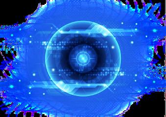 technology blue glow eye robot