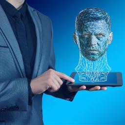 man hologram tablet