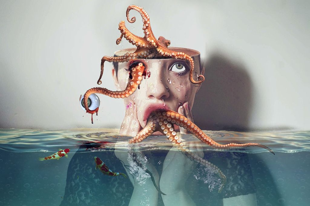 #freetoedit #woman #octopus #hollowhead #eye #fishes #water #drops #tentacles #blood #ftestickers #picsart