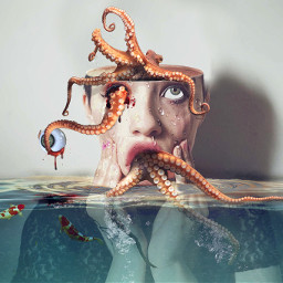 freetoedit woman octopus hollowhead eye ftestickers