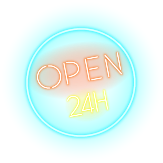 Open bar. Hours horas neon clipart