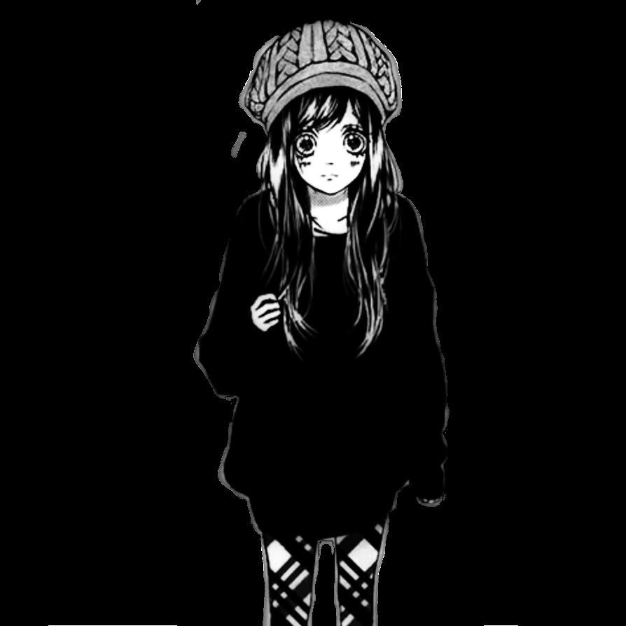 Anime manga girl cute kawaii blackandwhite white black