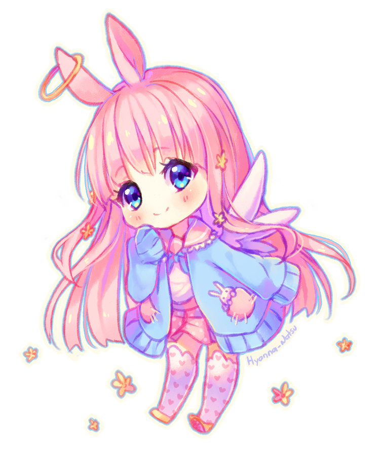 Chibi Kawaii Cute Anime Girl Bunny Rabbit Fairy Pinkhai