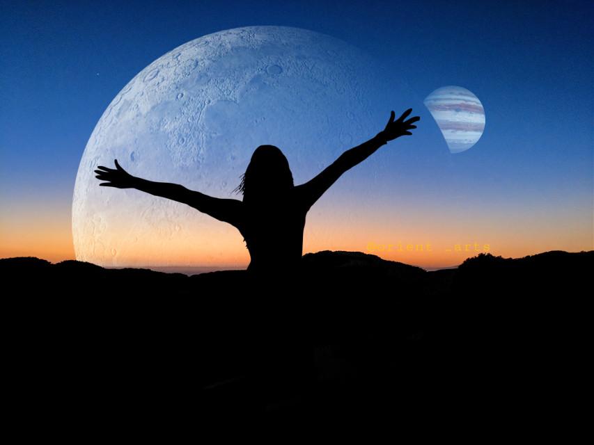 Hello universe. #freetoedit #universe #space #silhouette #sunset #callisto #jupiter #jupitermoon #mountains