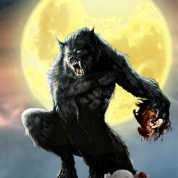 freetoedit werewolf moon sky head ftestickers