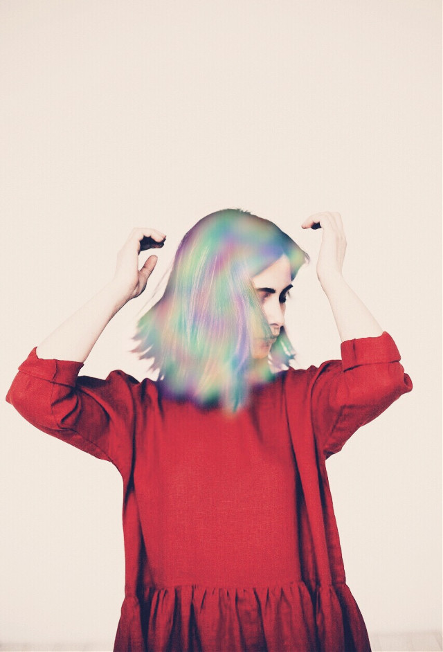 #freetoedit #girl #rainbow #red #hair