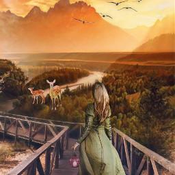 freetoedit woman deers nature feastmagic