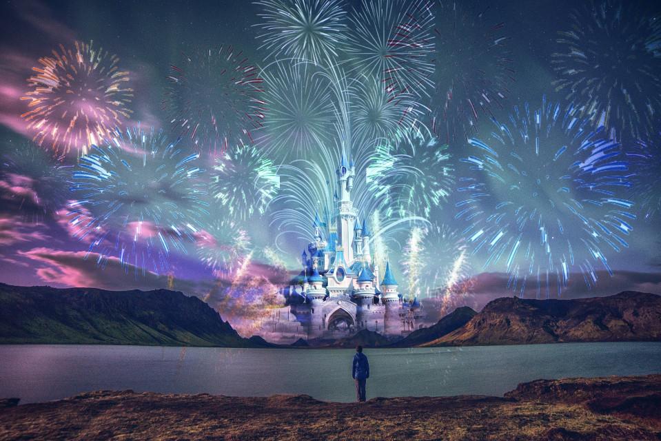 stop, watch, fantasize. #freetoedit #disneyinspired #disney #disneyworld #fireworks #fireworksshow #castle #fantasy #man #manwatching #colorful #night #dodgereffect