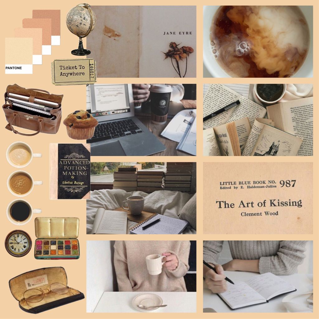 heres a little coffee/study date aesthetic suggested by @rosewood_milk . Which actually looks kinda cool xx  #beigeaesthetic #creamaesthetic #coffee #moodboard #studydate