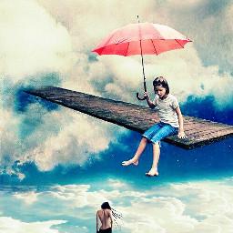 freetoedit girl sky umbrella