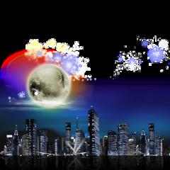 mq town night moon sky freetoedit
