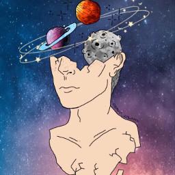 boy galaxy planets moon mars freetoedit