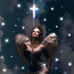 freetoedit woman angel water cross ftestickers