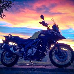 sunset nature suzuki suzukivstromxt motorcycle