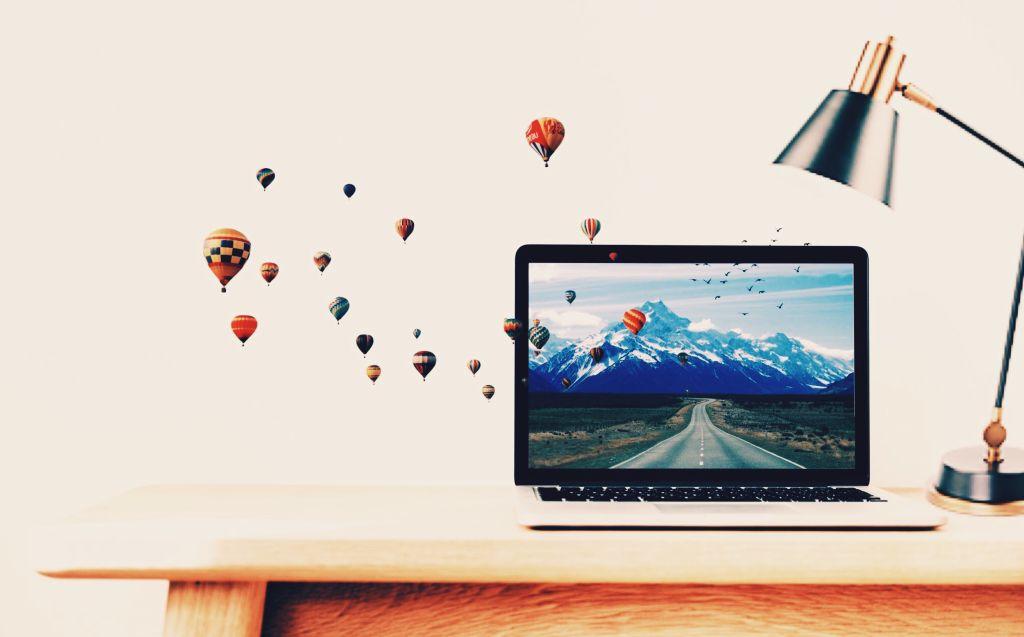 #freetoedit @dtsdk @picsart #remix #dtsdk #photomix #hotairballoon #mountains #tablelamp #laptop #computers #hp #apple #pc #computerdesk #remixgalleries