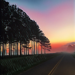 mornings road traveltrees backgrounds mypic