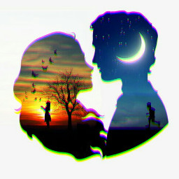 freetoedit edit picsart couple silhouettes
