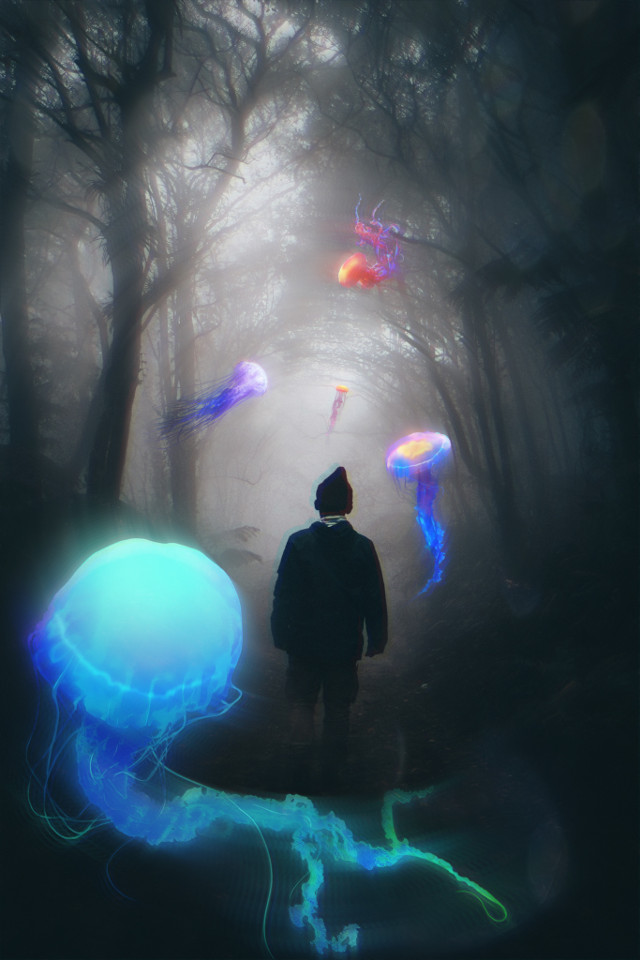 #freetoedit #man #jellyfish #forest #stickers #picsarteffects #picsart