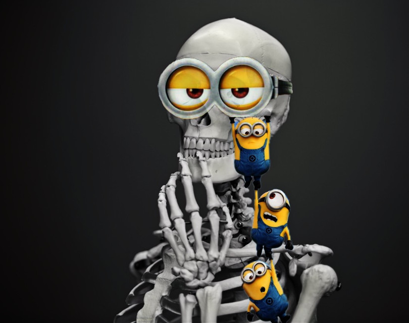 #freetoedit #minions  #halloween #skeleton #mischief #cute  Thank you for the fte and stickers everyone 💌