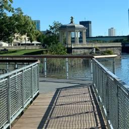 autumn mycity fences shadows water