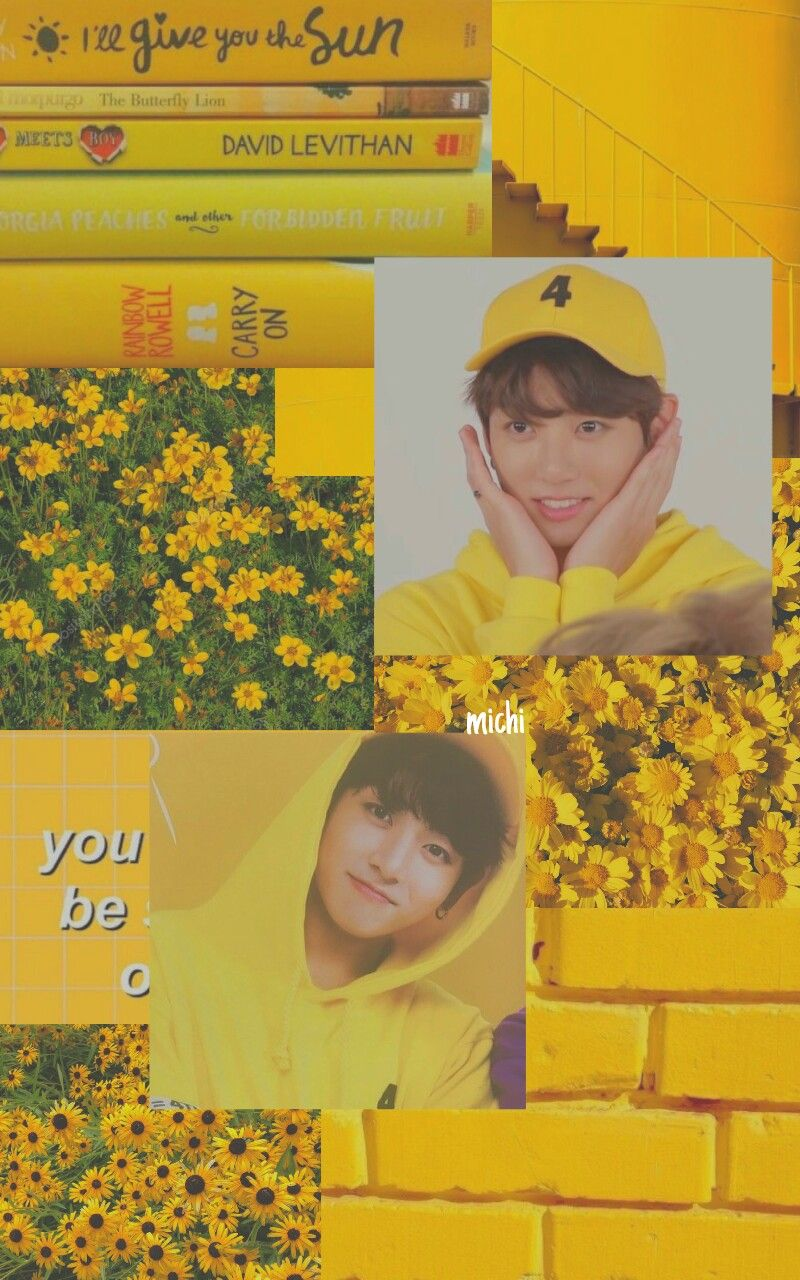 Freetoedit Jeon Jungkook 정전국 Aesthetic Yellow Wallpaper