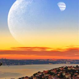 freetoedit turkey istanbul sunset moon